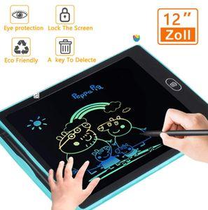LCD Writing Tablet Schreibtafel 12 Zoll für Kinder, Digital Papierlos Schreiben Tabletten ,Bunte,Handschrift Notizblock, Zeichnung Boards Schreibtafel für Kinder, Doodle Board, Writing