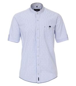 Casa Moda - Casual Fit - Herren Freizeit 1/2-Arm-Hemd mit Stehkragen (903354100), Größe:XXL, Farbe:Blau (100)