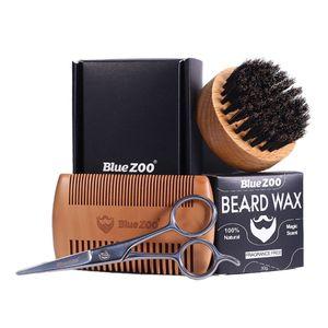 4pcs Bartpflege Set inkl. Holzkamm, Edelstahl Bartschere, Bartwachs, Bartbürste Holz wie beschrieben