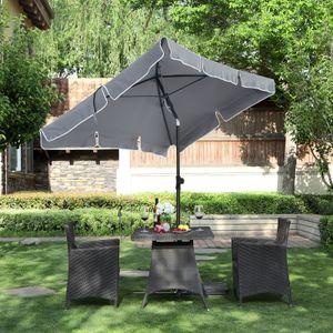 SONGMICS Sonnenschirm 200 x 125 cm, UV-Schutz bis UPF 50+, Gartenschirm, knickbar, Schirmtuch mit PA-Beschichtung, ohne Ständer, grau GPU25GY