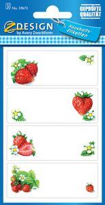 "AVERY Zweckform Z Design Haushaltsetiketten ""Erdbeeren"" 3 Blatt à 4 Etiketten"