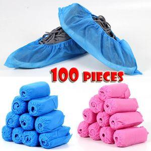 100 Stück Einweg-Vliesstoffschuhe Inklusive verdickter, elastischer, atmungsaktiver, staubdichter, rutschfester Überschuhe (blau + pink)