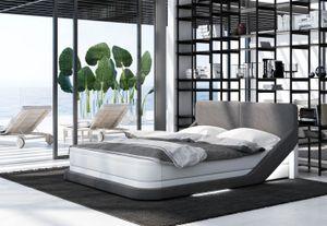 Boxspringbett Ossiano, Bettrahmen Farbe:Kunstleder weiß-Stoff grau, Bett Liegemaße:200x200 cm, Bett Matratze:Comfort Matratze