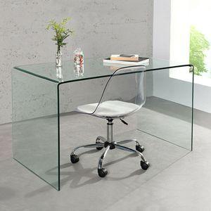 cagü: Design GlasSchreibtisch Schreibtisch [MAYFAIR] Glas transparent 120cm x 70cm