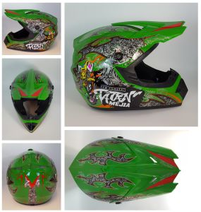 Megacooler Crosshelm Mejia Helm für Kinder grün Größe XS; Kinderhelm Motocrosshelm