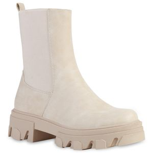 VAN HILL Damen Stiefeletten Plateau Boots Stiefel Profil-Sohle Schuhe 835598, Farbe: Creme, Größe: 37
