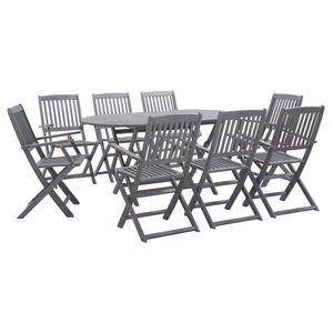 9-teiliges Outdoor-Essgarnitur Garten-Essgruppe Sitzgruppe Tisch + stuhl Massivholz Akazie Grau