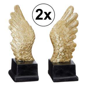 2er Set Engelsflügel Skulptur, 19cm, gold, Deko, Wohnen, Retro, Liebe