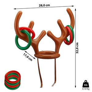 Aufblasbares Rentiergeweih Hut, ca. 28 cm, bunt, Ring Spiel Weihnachten Weihnachtsfeier Familie Kinder Büro Spaß