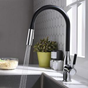 Küchenarmatur 2 Strahlen Wasserhahn Küche schwarz Spültischarmatur ausziehbar 360° drehbar Armatur Mischbatterie Küche schwarz Einhebelmischer Küche