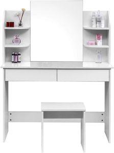 WOLTU Schminktisch Kosmetiktisch mit Hocker und Spiegel Hochglanz Tischplatte 108x40x143cm weiß
