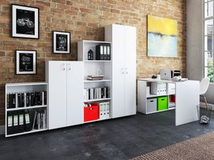 "Büro-Kombi Komplettset Büroprogramm Arbeitszimmer Möbelset Büromöbel ""Trio 2345"" Weiß"