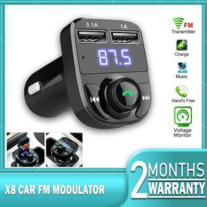 Bluetooth FM Transmitter, KFZ Auto Radio Adapter mit Mikrofon und USB Ladegerät, LED Display Freisprecheinrichtung Car Kit(schwarz)