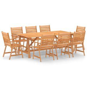 9-teiliges Outdoor-Essgarnitur Garten-Essgruppe Sitzgruppe Tisch + stuhl Massivholz Akazie