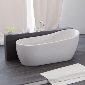 Freistehende Badewanne 174 x 85 x 75 cm, Acrylwanne Standbadewanne, Sanitäracryl Kasos, weiß