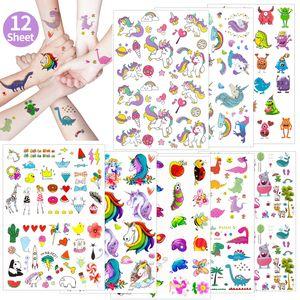 Oblique Unique XXL Kinder Tattoo Set 208 Stück für Mädchen Einhorn Herz Panda Motive uvm. Spielen Kindergeburtstag