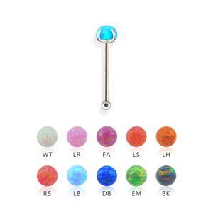Stahl - Nasenstecker - Opal - gefasst FA - Fuchsia