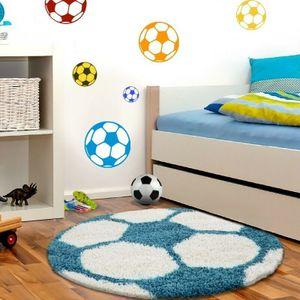 Kinderteppich für Kinderzimmer Fussball form Hochflor Teppich Türkis-Weiss, Grösse:100 cm Rund
