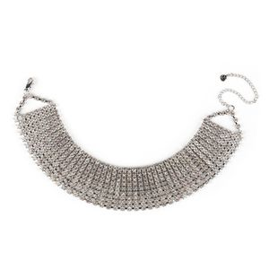 Irina Damen Schmuck Ketten Halsbänder Messing Strass Choker Halsketten 835228, Farbe: Silber