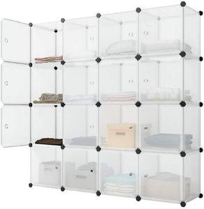 Kleiderschrank aus Kunststoff Regalsystem Aufbewahrungsregal mit 16 Fächern offenes Steckregal erweiterbar für Kleidung Spielzeug Tasche, Weiß halb Transparent LPC44L