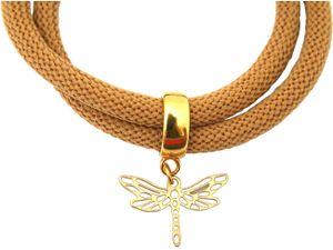 Damen Armband Wickelarmband 925 Silber Vergoldet Libelle Braun
