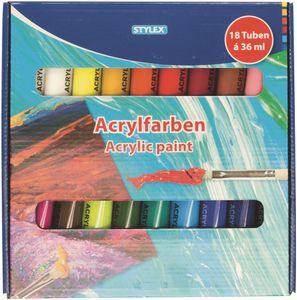 Stylex 28655 Acrylfarbe, 18er Schachtel, á 36 ml