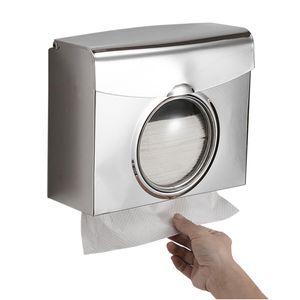 Papierhandtuchspender Doppelspender Papierhandtuchhalter Spender Wandmontagebohrung Wasserdichter Bad-Toiletten-Gewebespender Edelstahl Kuechenpapier-Handtuchspender mit sichtbarem Fenster
