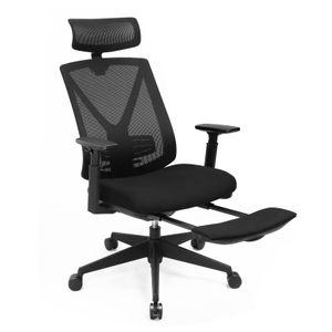 SONGMICS Bürostuhl mit Fußstütze, Schreibtischstuhl mit Lordosenstütze ergonomisch bis 150 kg Belastbar höhenverstellbar und Wippfunktion schwarz OBN61BKV1