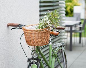 Fahrradkorb 'Blümchen' Füllkorb Flechtkorb Natur bügel Einkauf Flaschen