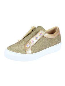 Gabor Damen Marken-Sneaker mit Perlen, goldfarben, Größe:5