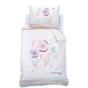 Dreamcatcher Bettwäsche Set 70x90 + 140x200 cm · Bohemian Style, Traumfänger & Federn · Renforce Bettwäsche für Kinder / Mädchen - 100% Baumwolle