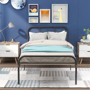 Merax Metallbett Bett Bettgestell 90 x 200cm mit Lattenrost, Metallbetten Jugendbett Metallbettrahmen mit Kopf- und Fußteil, Schlafzimmerbett Bettrahmen für Wohnzimmer, schwarz