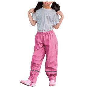 Dünne wasserdichte winddichte und atmungsaktive Regenhose für Kinder im Freien Größe:B,Farbe:Pink