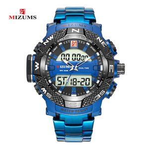 MIZUMS Herrenuhr Fashion Alloy Case Digital Analog Dual Bewegung Uhr Sport wasserdicht Kalender Stoppuhr Quarz-Armbanduhr