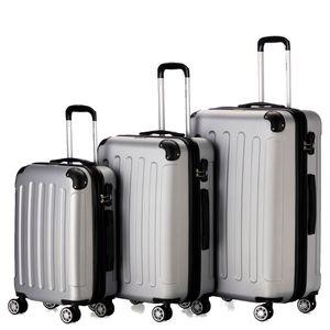 Flexot 2045 3er Reisekoffer Set - Farbe Silber Größe M L XL Kofferset Hartschale Trolley Koffer