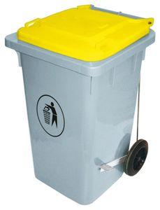 Contacto Abfalleimer aus Kunststoff, 100 Liter, gelber Deckel, seitliches Tretpedal, 52,5 x 80 cm