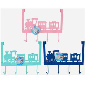 Kinder Garderobenhaken Eisenbahn Rosa, Blau oder Grün Türhaken 4 Haken Metall, Farbe:grün