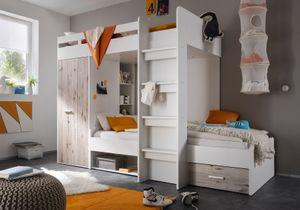 Maxi Etagenbett 90x200cm Hochbett Multifunktionsbett Kinderzimmer Weiß/Sandeiche