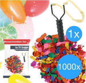 Wasserbomben Set mit 1000x Wasser Ballons & 1x Wasserbombenschleuder für Kinder & Erwachsene - Wasser Luftballons in bunten Farben
