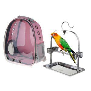Transporttasche / Transportrucksack mit Sitzstange für Vögel, 35 x 25 x 42 cm Farbe Rosa