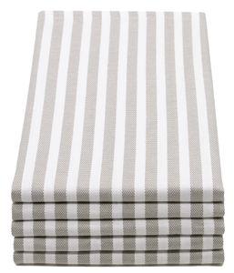 Geschirrtücher, Baumwolle, grau weiß gestreift, 5er Set, 50x70 cm