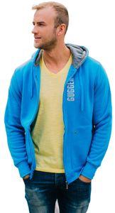 GUGGEN MOUNTAIN Herren Kapuzenjacke Kapuzenpullover mit Fleece Hoodie Hooded Logo Sweater Sweatjacke Warmer Pullover Rei§verschluss Streetwear Langarm Kapuze Outdoor Sport Blau XL
