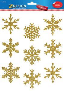 AVERY Zweckform ZDesign Weihnachts-Fensterbild Sterne gold 9 Aufkleber
