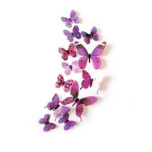 Oblique Unique 3D Schmetterlinge 12er Set Wandtattoo Wandsticker Wanddeko - lila-pink