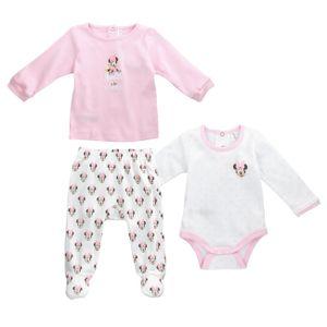 Disney Baby Mädchen 3 Teile Geschenk Set Shirt Hose Minnie Mouse weiß rosa