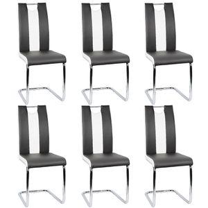 6er-set Esszimmerstühle  | Freischwinger Stühle Bow Esstischstuhl Küche Küchenstuhl Barstuhl - Hochlehner Sitzgruppe | Kunstleder Weiß+schwarz