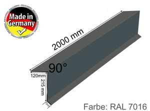 Dachblech Ortgangblech Dachprofil Kantblech 2m 200cm Alu Grau 7016 / 120 x 215mm