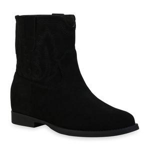 Mytrendshoe Damen Klassische Stiefeletten Keilabsatz Stickereien Schuhe 835812, Farbe: Schwarz, Größe: 38