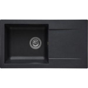STRADOUR Spüle aus EINNA, SMC BLACK STRAW - 06, 1 Schüssel, Größe 78 * 43,5 cm, manuelle Entleerung