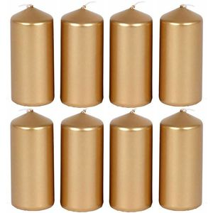8x Stumpenkerzen Blockkerzen Gold Dekokerzen Adventskerzen Metallic 40 x 90 mm